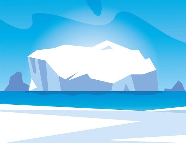 Paisagem do ártico com céu azul e iceberg, pólo norte Vetor Premium
