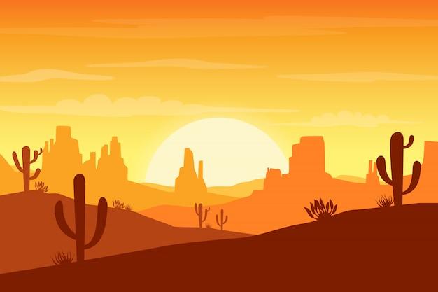Paisagem do deserto ao pôr do sol com cactos e colinas Vetor Premium