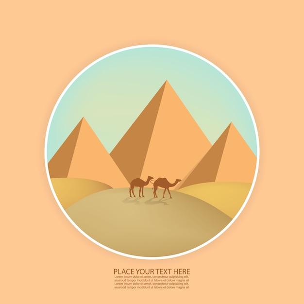Paisagem do deserto com pirâmides e camelos Vetor Premium