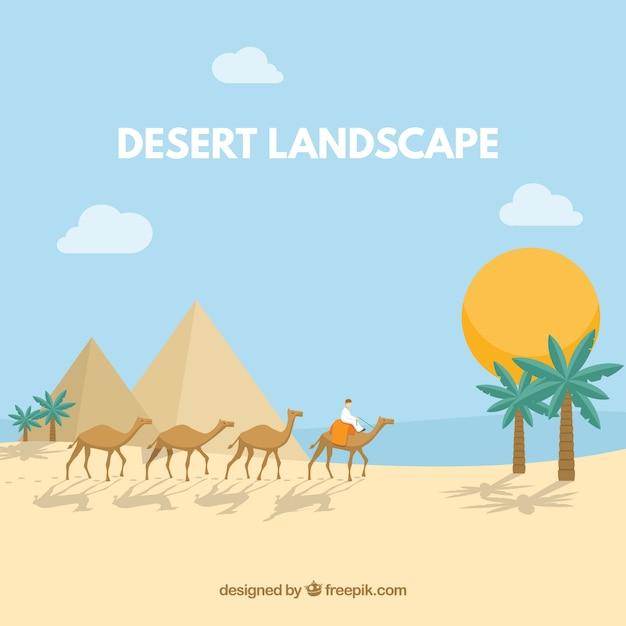 Paisagem do deserto egípcio com pirâmides e caravana Vetor grátis