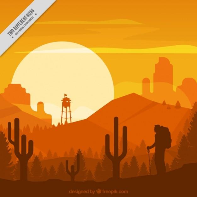 Paisagem do deserto em tons alaranjados Vetor grátis