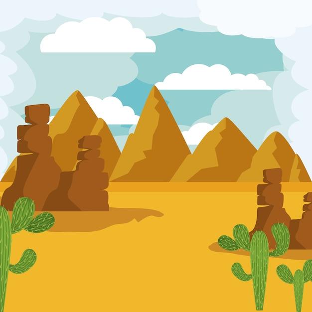 Paisagem do deserto isolado ícone do design Vetor Premium