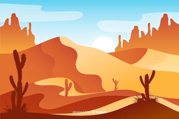 Paisagem do deserto no tempo do dia Vetor grátis