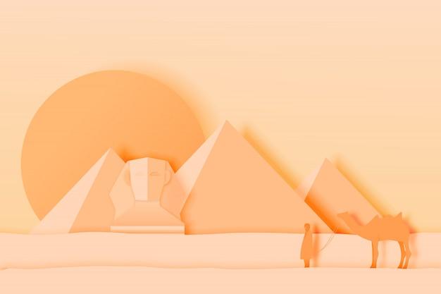 Paisagem do egito com pirâmide na arte de papel Vetor Premium