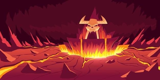 Paisagem do inferno, caverna de pedra infernal dos desenhos animados Vetor grátis