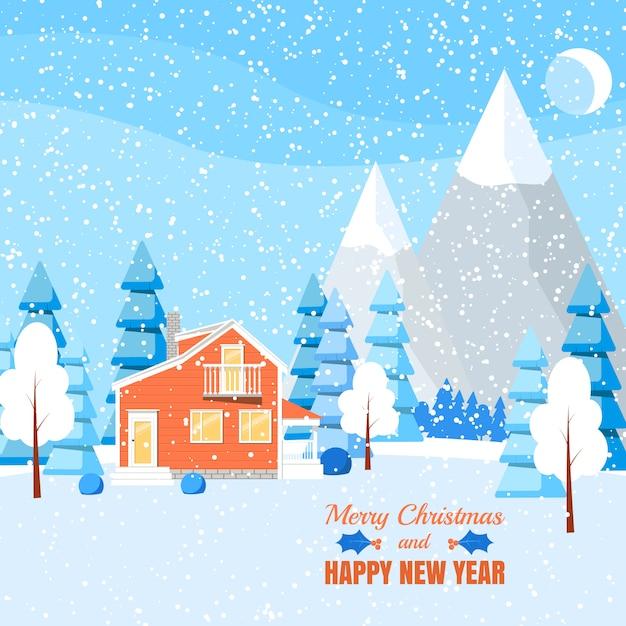 Paisagem do inverno com casa em pó, árvores e abetos vermelhos na floresta na terra coberta de neve. Vetor Premium