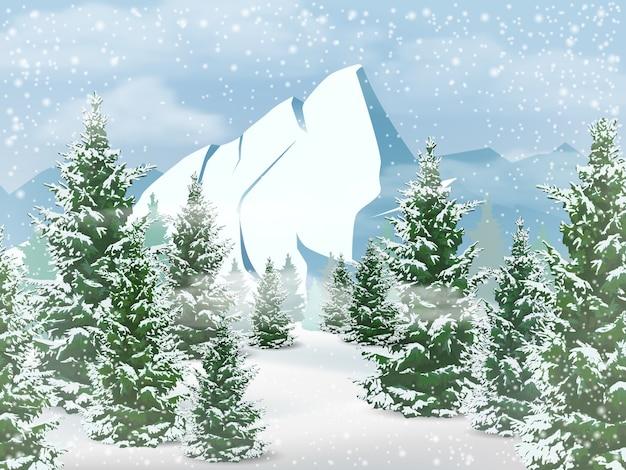 Paisagem do inverno com montanhas, floresta de abetos e queda de neve. Vetor Premium