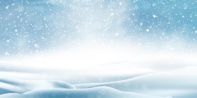 Paisagem do inverno com neve caindo, fundo nevado. Vetor Premium