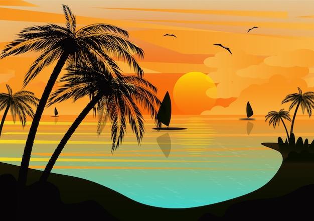 Paisagem do mar tropical do sol Vetor Premium