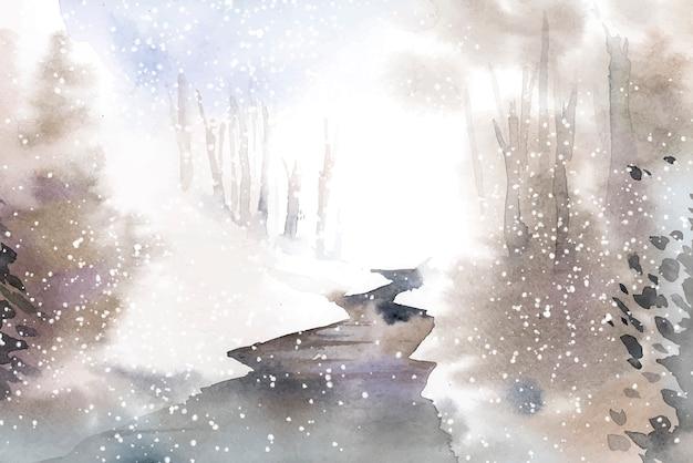Paisagem do país das maravilhas de inverno pintada por aquarela vector Vetor grátis