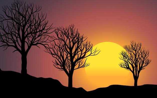 Paisagem do sol de três árvores mortas Vetor Premium
