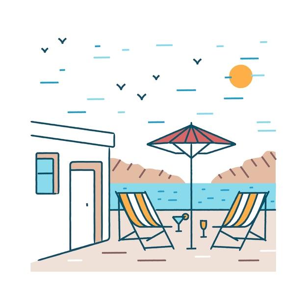 Paisagem do verão com par de cadeiras de praia, coquetéis exóticos e guarda-chuva em pé perto do edifício do hotel contra montanhas e mar no fundo. Vetor Premium