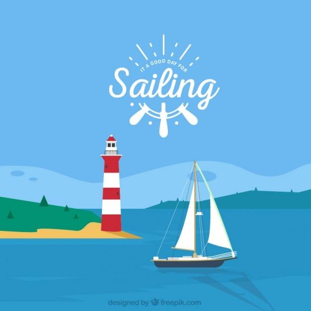 Paisagem do verão com um houselight e um barco Vetor grátis