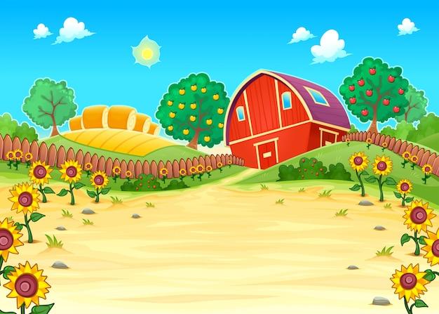 Paisagem engraçada com a ilustração do vetor dos desenhos animados fazenda e girassóis Vetor grátis