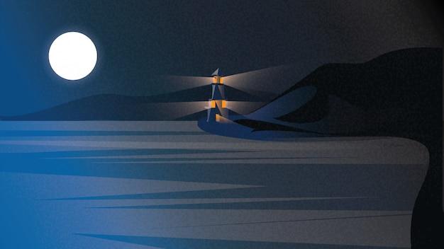 Paisagem escandinava ou nórdica do beira-mar. cena da noite do mar báltico com o farol sob a obscuridade - céu azul. Vetor Premium