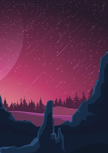 Paisagem espacial em tons roxos Vetor Premium
