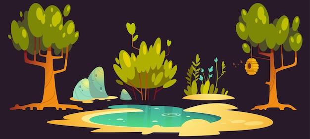 Paisagem florestal com árvores, lago, pedras e colmeias penduradas no galho Vetor grátis