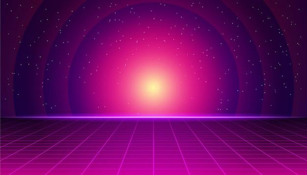 Paisagem futurista retrô com pôr do sol de néon. fundo retrô synthwave. retrowave gráficos de computador e conceito de ficção científica. Vetor Premium