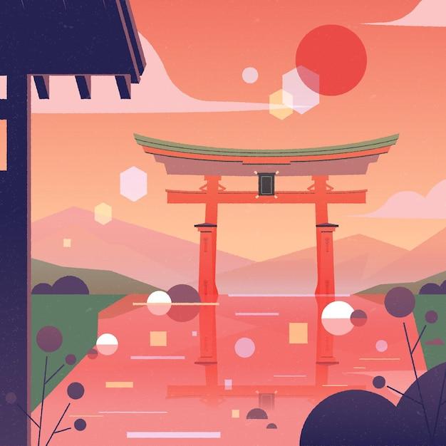 Paisagem gradiente com portão torii Vetor grátis
