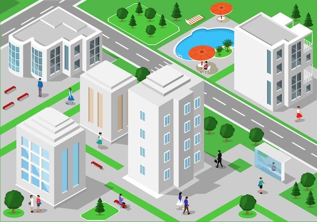 Paisagem isométrica com pessoas, edifícios da cidade, estradas, parques, hotéis e piscina. conjunto de edifícios detalhados da cidade. pessoas isométricas 3d Vetor Premium