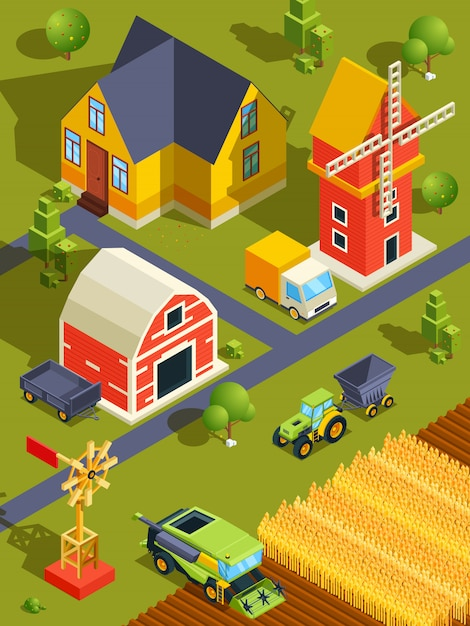 Paisagem isométrica da aldeia ou fazenda com vários edifícios e máquinas agrícolas Vetor Premium