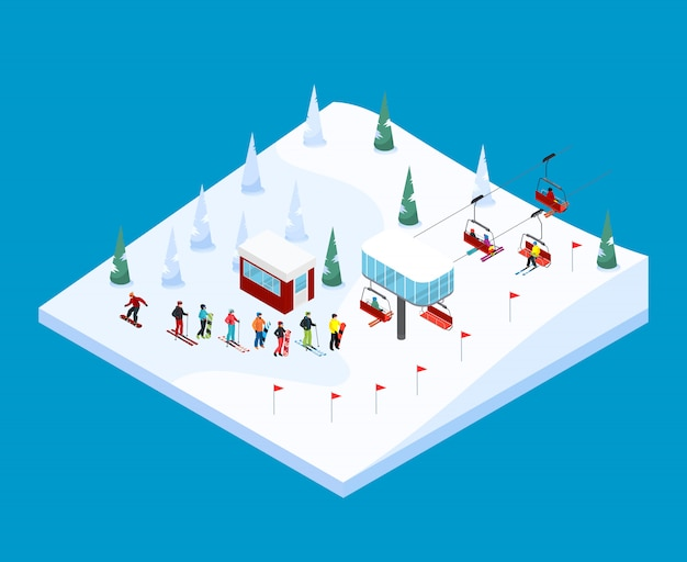 Paisagem isométrica de esqui montanha Vetor grátis