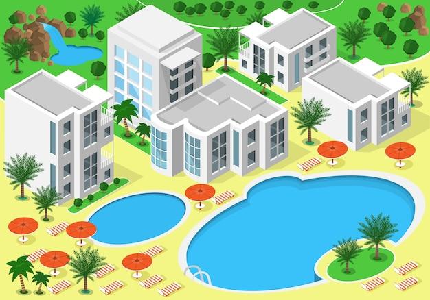 Paisagem isométrica de um hotel de luxo à beira-mar com piscinas para o descanso de verão. conjunto de edifícios detalhados, lagos, cachoeira, praia com palmeiras. mapa isométrico Vetor Premium