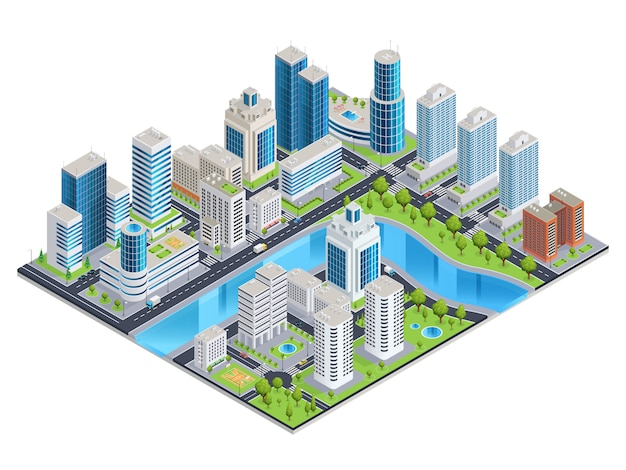 Paisagem isométrica urbana moderna Vetor grátis