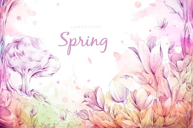 Paisagem linda primavera aquarela Vetor grátis