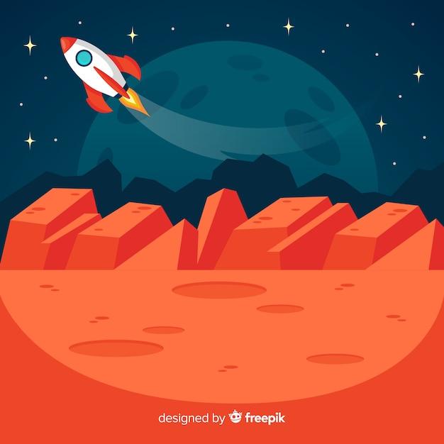 Paisagem marciana com naves espaciais Vetor grátis