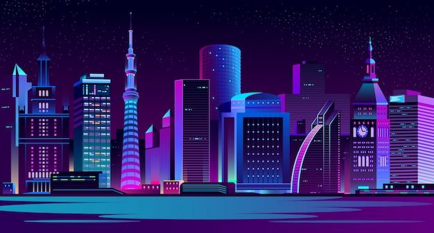 Paisagem moderna da noite da cidade Vetor grátis