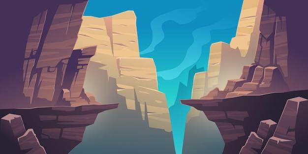 Paisagem montanhosa com precipício nas rochas Vetor grátis