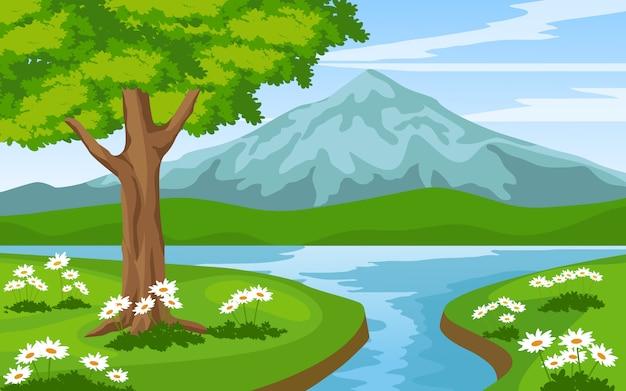 Paisagem montanhosa com rio e árvore Vetor Premium