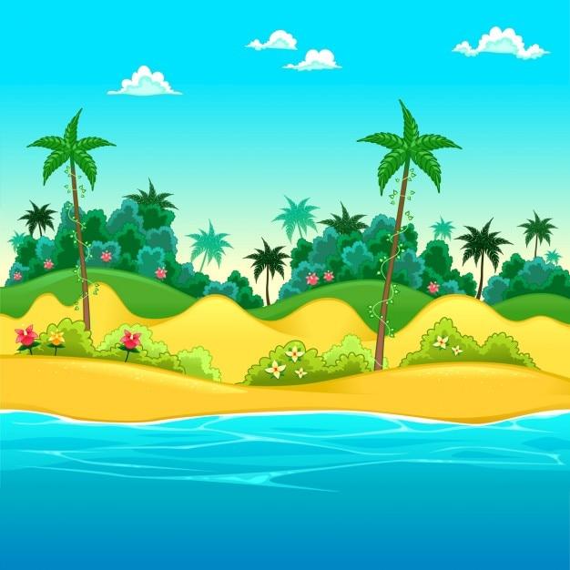 Paisagem Na Praia Vector Ilustra 231 227 O Dos Desenhos Animados