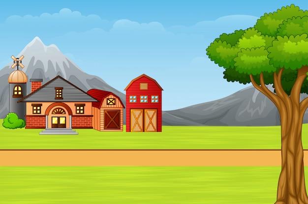 Paisagem natural com casa de campo dos desenhos animados Vetor Premium