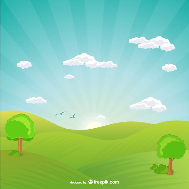 Paisagem Natural Com O Por Do Sol Vetor Gratis