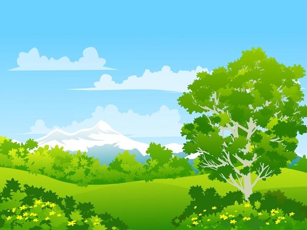 Paisagem natureza rural com prado verde florido e montanha de neve Vetor Premium