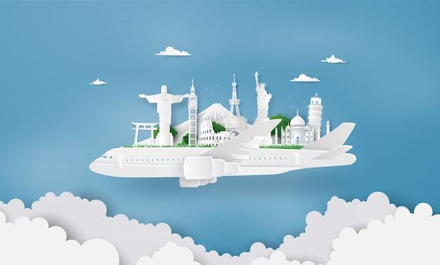 Paisagem no avião branco Vetor Premium