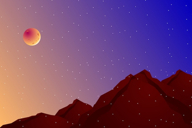 Paisagem noturna com encosta e ilustração do céu colorido Vetor Premium