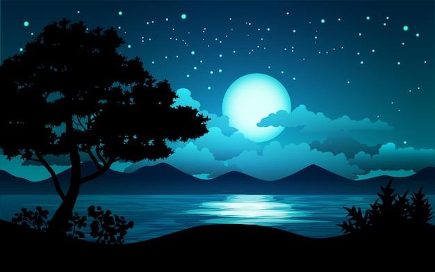 Paisagem noturna com lago e árvore Vetor Premium