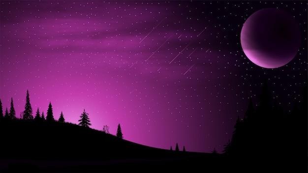 Paisagem noturna com um grande planeta no céu, céu estrelado, nuvens e campos com árvores coníferas Vetor Premium