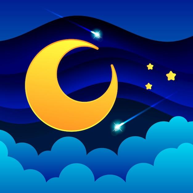 Paisagem noturna de nuvens grossas o céu noturno uma bela paisagem Vetor Premium