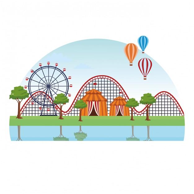 Paisagem parque de diversões Vetor Premium
