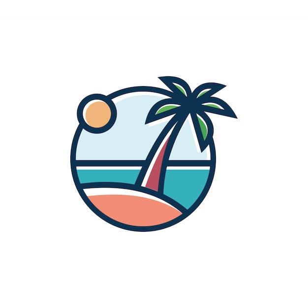 Paisagem por do sol praia tropical Vetor Premium