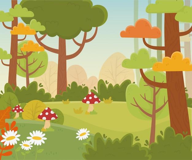 Paisagem prado flores cogumelo árvores natureza folhagem ilustração Vetor Premium