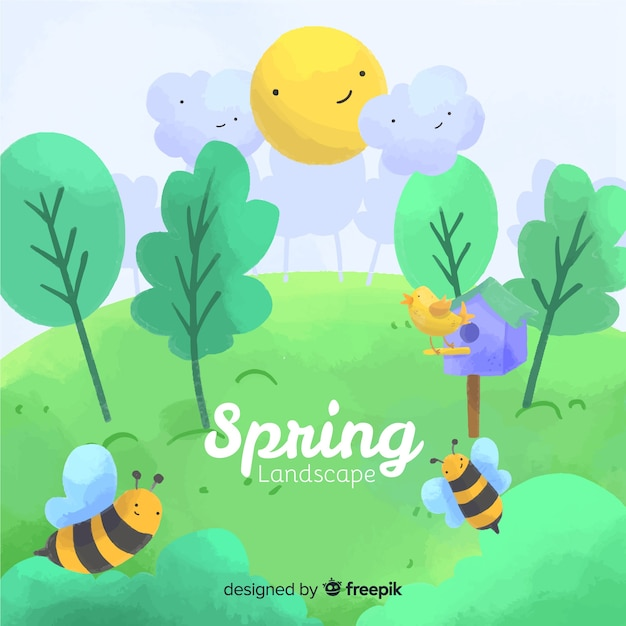 Paisagem primavera Vetor grátis