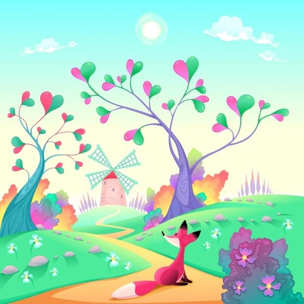 Paisagem romântica com raposa engraçado dos desenhos animados e ilustração do vetor Vetor grátis