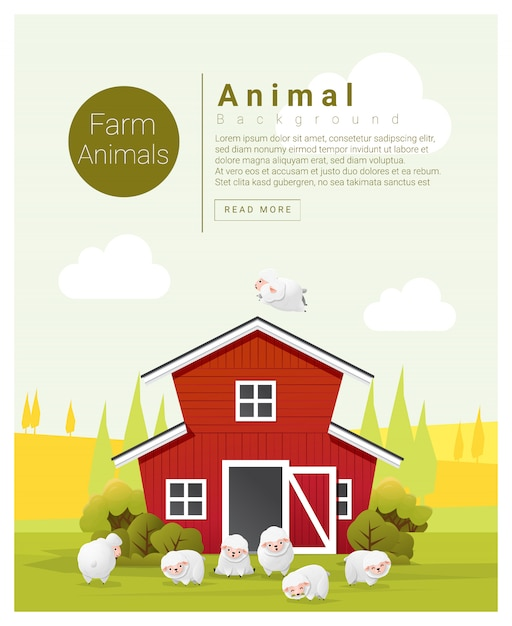 Paisagem rural e fundo animal de fazenda com ovelhas Vetor Premium