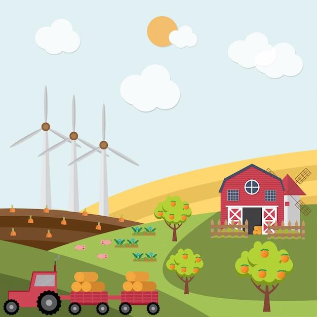 Paisagem rural vista da fazenda e campos verdes. Vetor Premium
