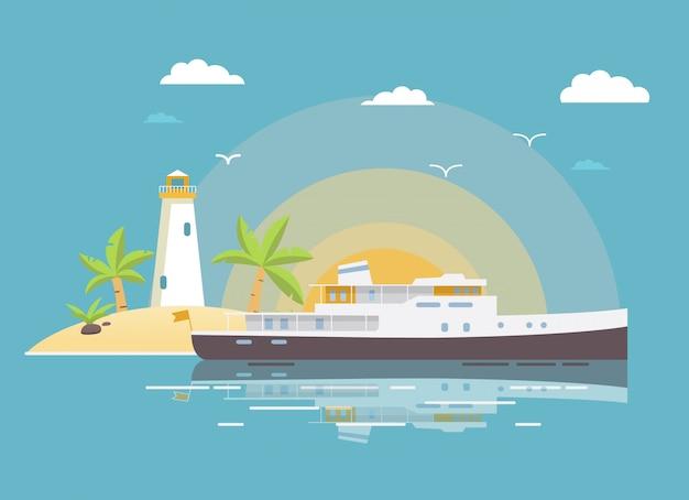 Paisagem tropical com a praia da costa da ilha do navio do iate e o farol arenosos das palmeiras do sol. Vetor Premium